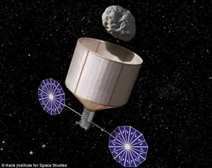 Paper or plastic?  Space vehicle bags up asteroid for return to Earth.