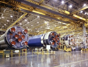 An assembly line of Saturn 1B first stage rockets.  A capability rapidly disappearing.
