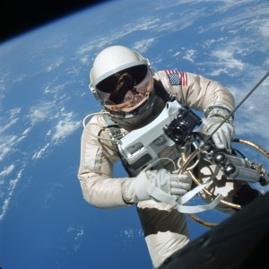 Astronaut Ed White makes the first American space walk, 1965.