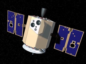 Artistic rendition of Clementine in flight.  Door opens onto sensor deck; communications antenna at bottom.  The overall length of the spacecraft was about 1.5 meters.