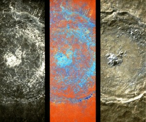 "Clementine images of the crater Tycho.  At left is a map of the 1 micron absorption, the middle image is a false-color composite and the image at right is ""true"" color.  The features evident on the crater floor appear related to the sheet of impact melt rock that lines the crater."