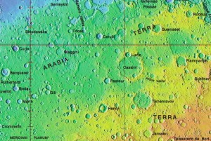 The cratered highlands of Mars -- so few names, so many holes.