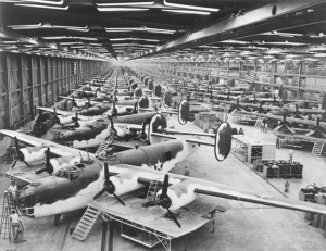 Production line of B-24 Liberator bombers, part of an enormous industrial infrastructure that won World War II, the Cold War, and later, sent America to the Moon.