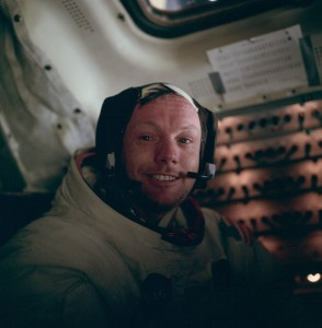 Apollo 11 CDR Neil Armstrong, immediately after his historic Moonwalk.