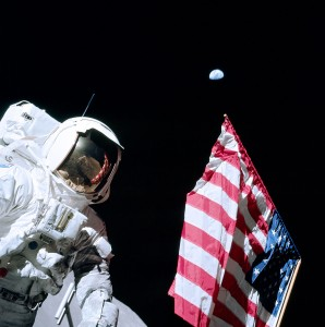 Astronaut Jack Schmitt and flag on the Moon, 1972.  Once unquestioned, now questionable.