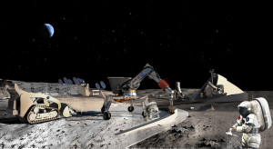 Lunar outpost under construction using 3-D printers to fabricate infrastructure.  NASA image.